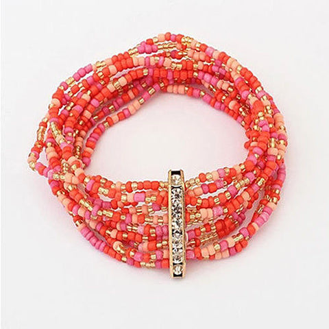 Bohemian Bead Bracelet in Springy Colors - VistaShops - 3