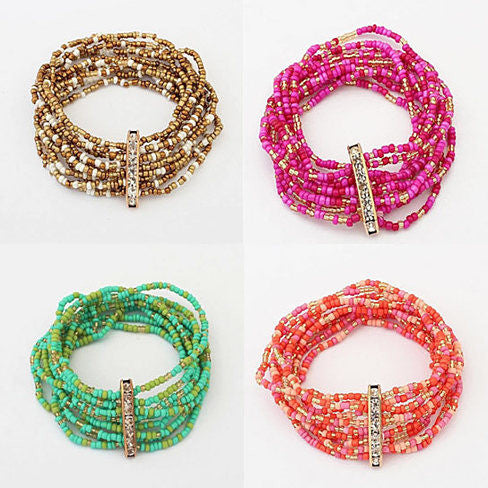 Bohemian Bead Bracelet in Springy Colors - VistaShops - 4