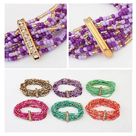 Bohemian Bead Bracelet in Springy Colors - VistaShops - 5