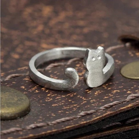 My Cute Kitten Fashion Ring In 925 Brushed Sterling Silver - VistaShops - 2