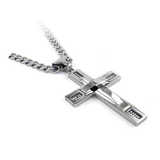 Keepsake Cross Pendant With A Curb Chain For Men 18kt Gold Plated