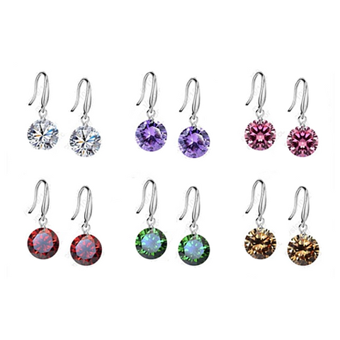 Colorful Diamonds in the Sky Drilled Austrian Crystal Diamond on a Sterling Silver hook earrings - VistaShops - 2