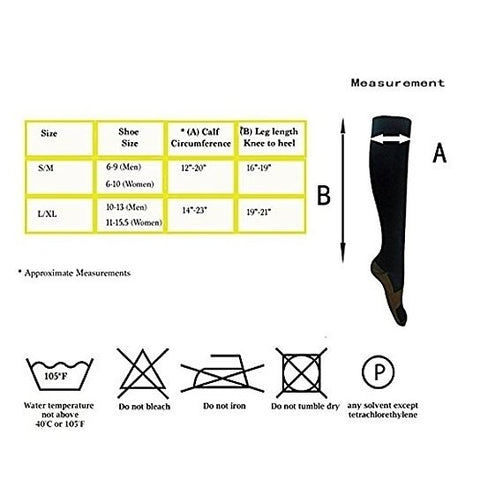 Copper Infused Compression Socks 6-Pack Lightweight