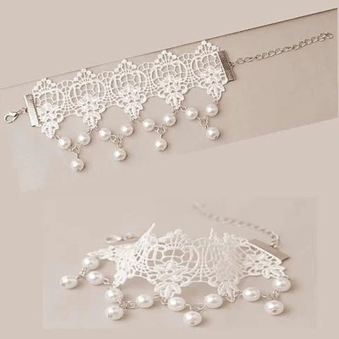 The Touch Of Vintage Victorian Style Crochet Necklace and Bracelet Set - VistaShops - 5