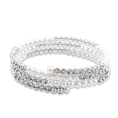 The Promise - Wrapped in Crystal and Pearls Bracelet - VistaShops - 1
