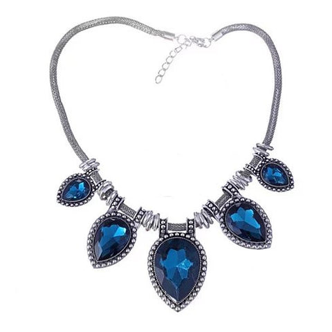 BeYOUtiful Crystal And Antique Silver Style Statement Necklace - VistaShops - 1