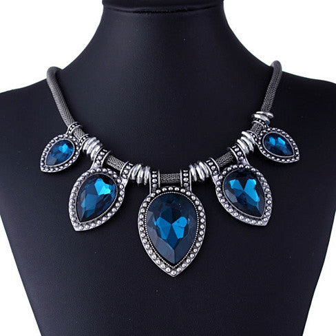 BeYOUtiful Crystal And Antique Silver Style Statement Necklace - VistaShops - 5