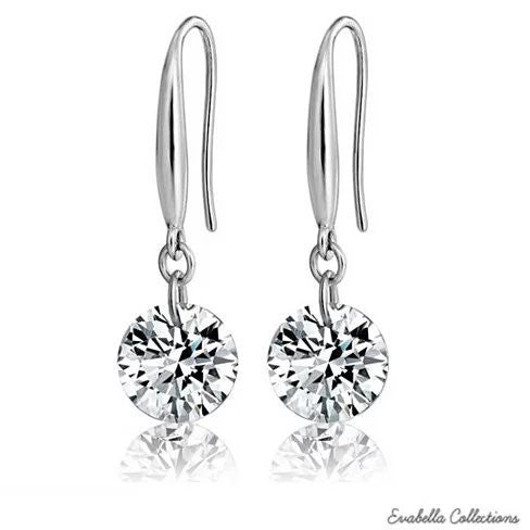 Diamond in the Sky - Drilled Crystal Diamond on a Sterling Silver hook earrings - VistaShops - 1