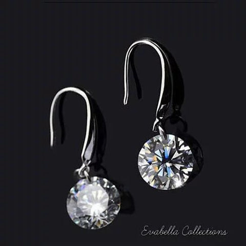 Diamond in the Sky - Drilled Crystal Diamond on a Sterling Silver hook earrings - VistaShops - 2