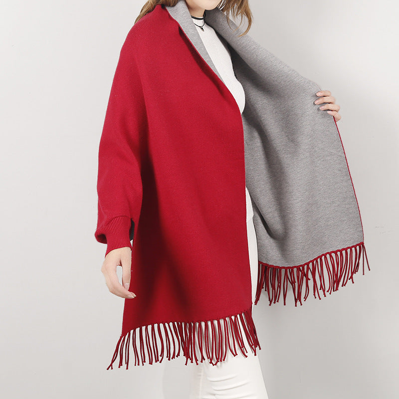 Win Win Winter Reversible Poncho With Fringes