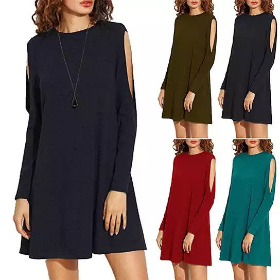 shopify-Almondina Tunic Dress With Slivered Sleeves-1