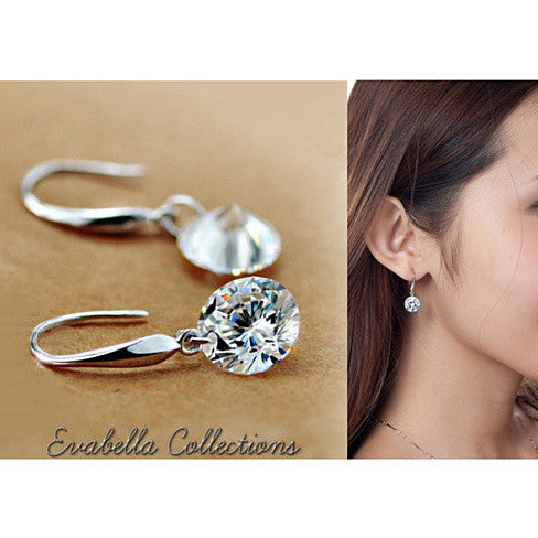 Drilled Crystal Diamond earrings with 925 Sterling Silver - VistaShops - 2