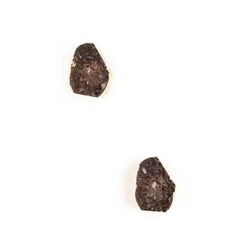 ROCK ON Druzy Stud Earrings in Smoky Crystal - VistaShops