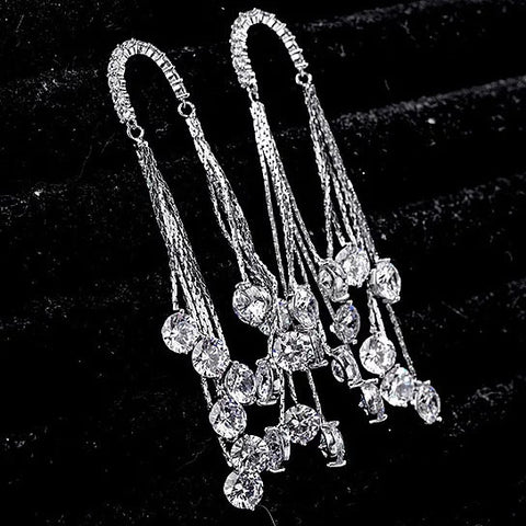 Raindrops Earrings Raining Diamond Crystals
