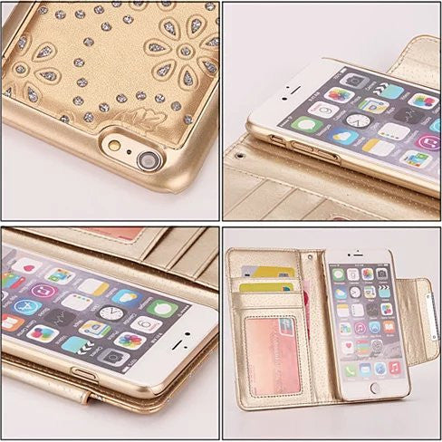 Isadora Vintage Charm Wallet For iPhone 6 / 6 Plus With Matching Detachable Phone Case Feature - VistaShops - 6