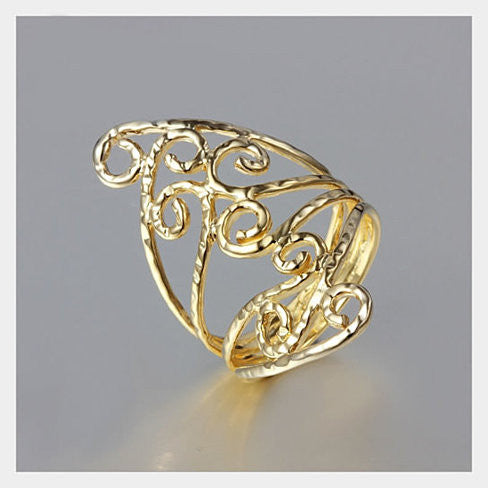 Swirl & Twirl - The 18kt Gold Plated Fine Filigree Ring - VistaShops