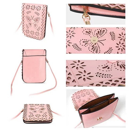 Social Butterfly A Flower And A Butterfly Filigree Design Crossbody Bag - VistaShops - 3
