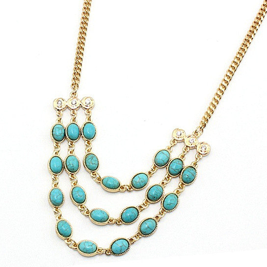 shopify-Beauteous Turquoise Necklace With 3 Strands-1