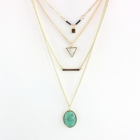 Oliva 4 Layered Necklace In Rose Quartz And Turquoise Stone