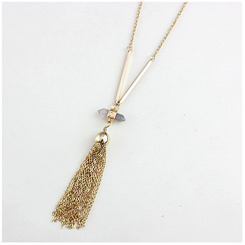 Violeta Necklace With Crystal Pendant And Trendy Tassels