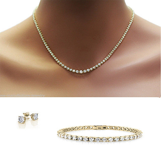 Trio Set of Dazzling Diamond Crystal Necklace Bracelet And Earrings