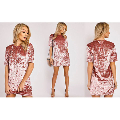 Mirage Crinkled Velvet Cocktail Dress
