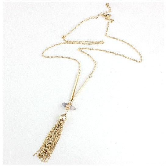 Violeta Necklace With Crystal Pendant And Trendy Tassels ...