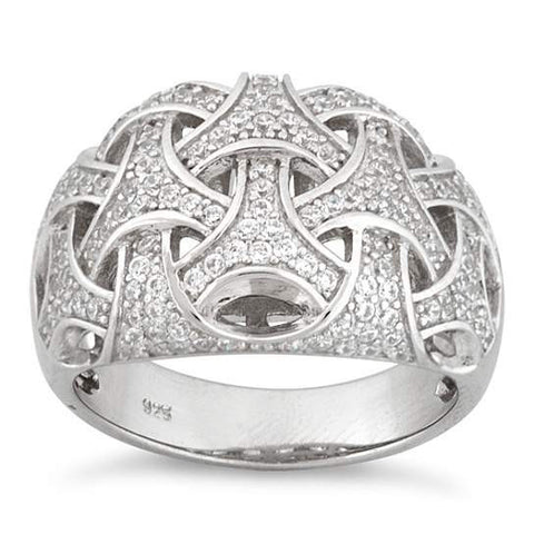 Commitment Ring Woven Style CZs On Platinum Plating