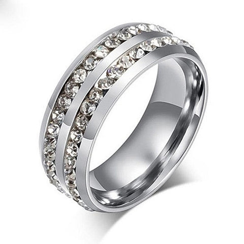 I Trust You Ring Double Row Channel Set CZ Stones In Titanium Steel