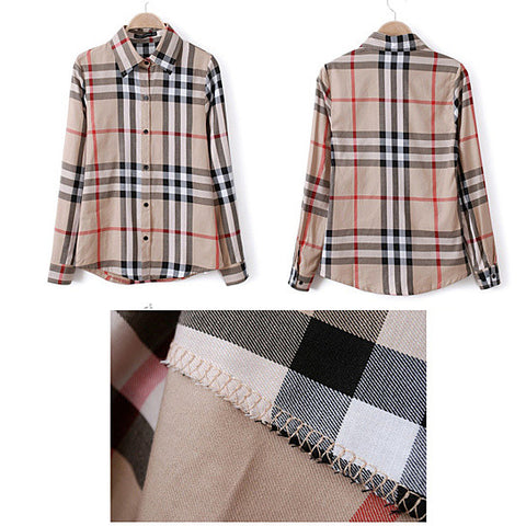 Boyfriend Shirt In Tan and Blue Plaids