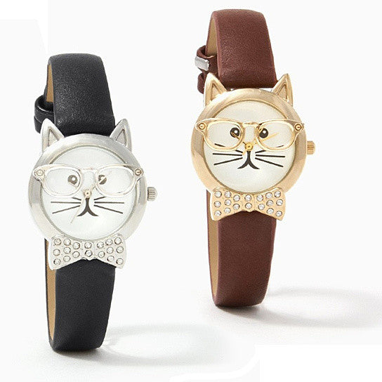 shopify-Bow Tie Affair Cat Watch With Diamond Crystal Bow-1