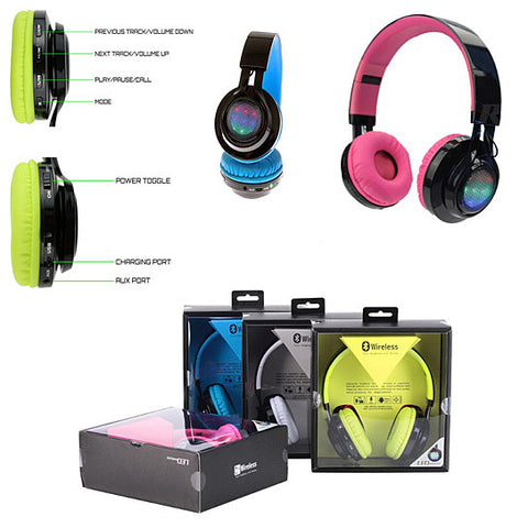 Disco Scene Glow In The Dark LED Bluetooth Headphones