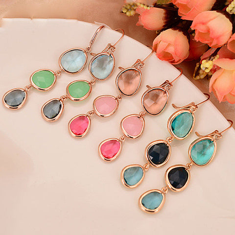 Serena Ombre Style Gem Drop Earrings