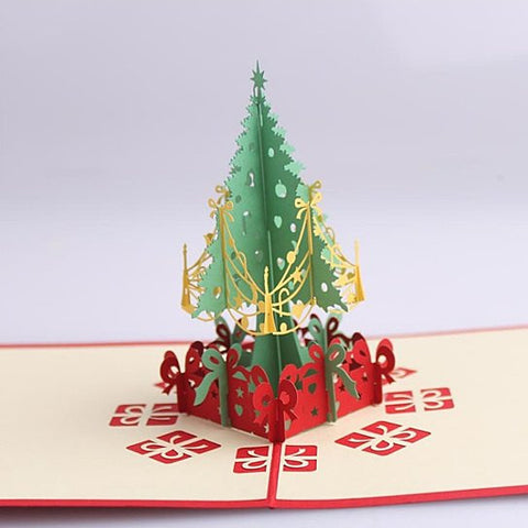 3D Christmas Tree Greeting Cards Memories Treasured Forever