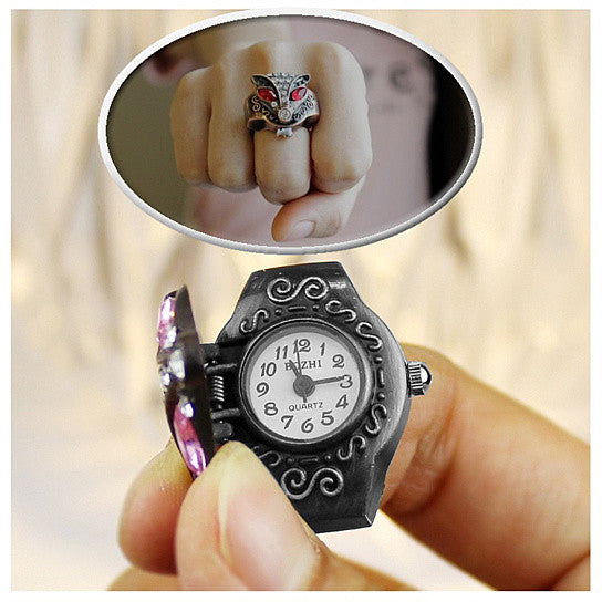 Vixen Watch In Antique Crystal Ring