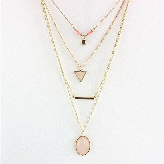shopify-Oliva 4 Layered Necklace In Rose Quartz And Turquoise Stone-1
