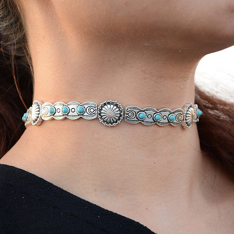 Blue Moon Choker Necklace In Antique Finish