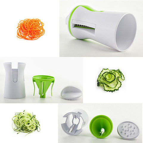 Salad Lover's Spiral Slicer 2 Blades Handheld And Compact