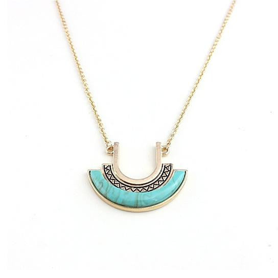 Love U To The Moon Long Turquoise Necklace