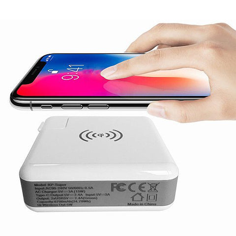 Multi- Power Gizmo with Wireless Charger and Stored Power Bank