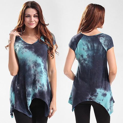 Cap Sleeve Asymmetrical Tie Dye Top