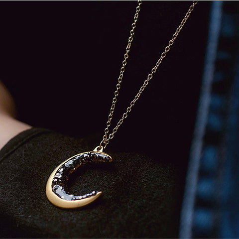 Over The Moon Long Necklace With Crescent Moon Pendant