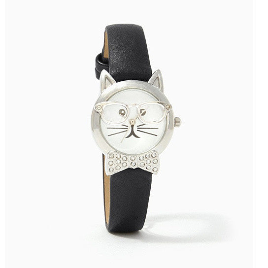 shopify-Bow Tie Affair Cat Watch With Diamond Crystal Bow-2
