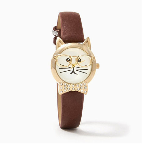 Bow Tie Affair Cat Watch With Diamond Crystal Bow