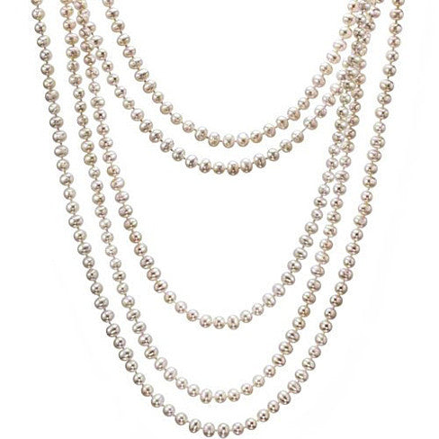 Fresh Water Pearl, 100 inch Long and Wrap around neck Necklace in 7/8 mm Round Pearls - VistaShops