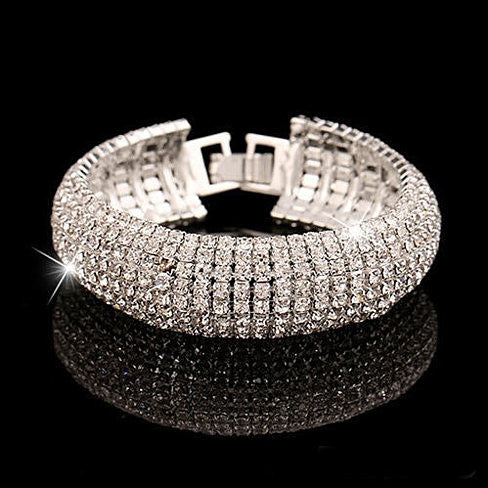 Glamour Girl Crystal Bangle Cuff Bracelet - VistaShops - 1