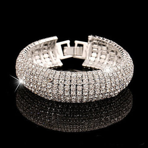 Glamour Girl Crystal Bangle Cuff Bracelet