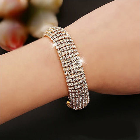 Glamour Girl Crystal Bangle Cuff Bracelet - VistaShops - 3