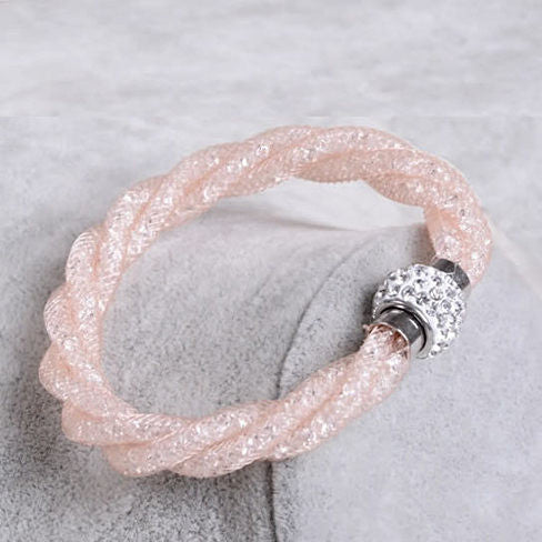 Rope Bracelet a Wire Mesh with Tiny Crystal loaded to form a Halo - VistaShops - 1
