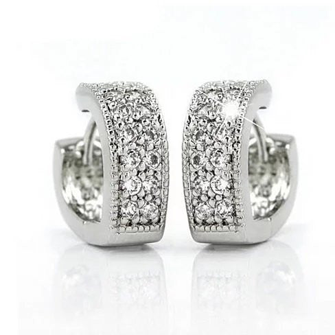 Heart Shape Hoop Earrings in 925 Sterling Silver and CZ stones - VistaShops - 1